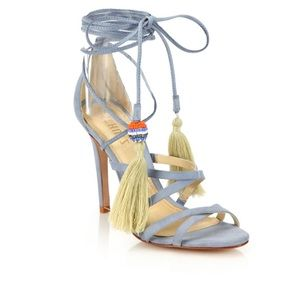 Schutz lace up Kitty Ankle Wrap Suede heels 6